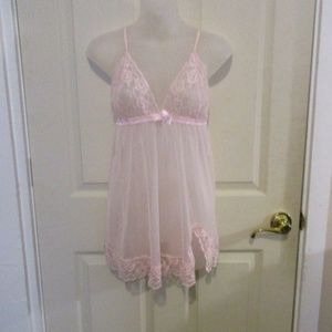 Frederick's of Hollywood sheer pink lace chemise L
